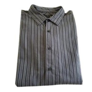 Claiborne Dress Shirt Striped Gray/Black XXL
